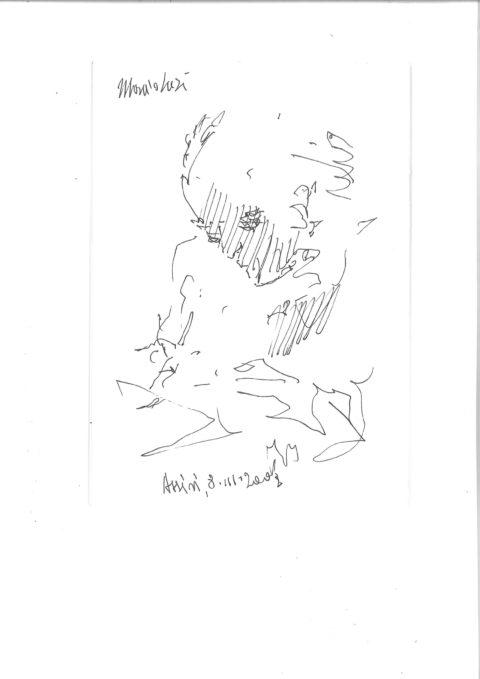 Raimondo Rossi Ritratto di Mario Luzi penna Assisi 8 marzo 2002